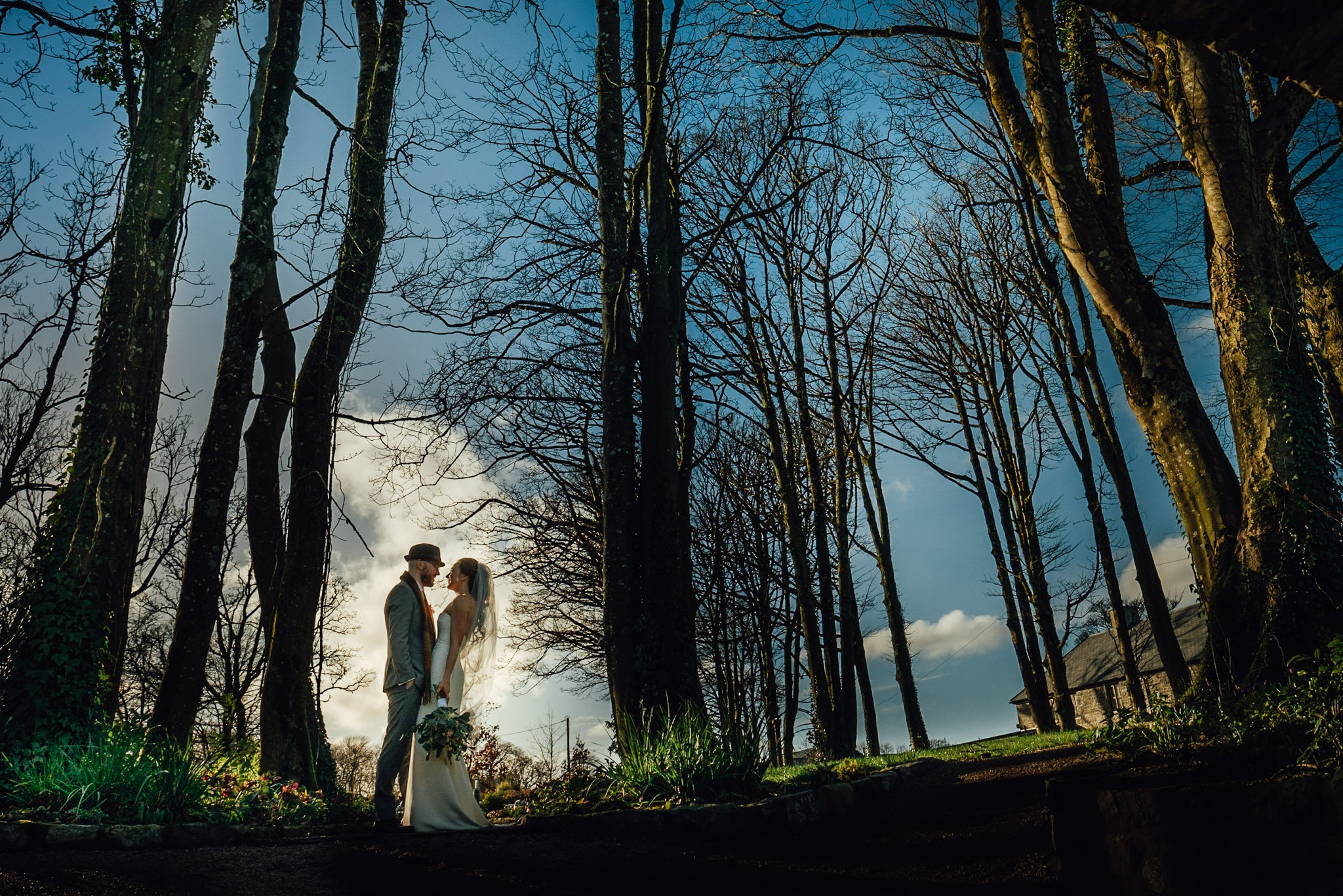 bride and groom on the grounds of clonabreany house