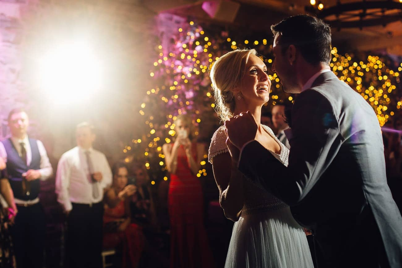 The bride and groom have their first dance at Ballymagarvey Village