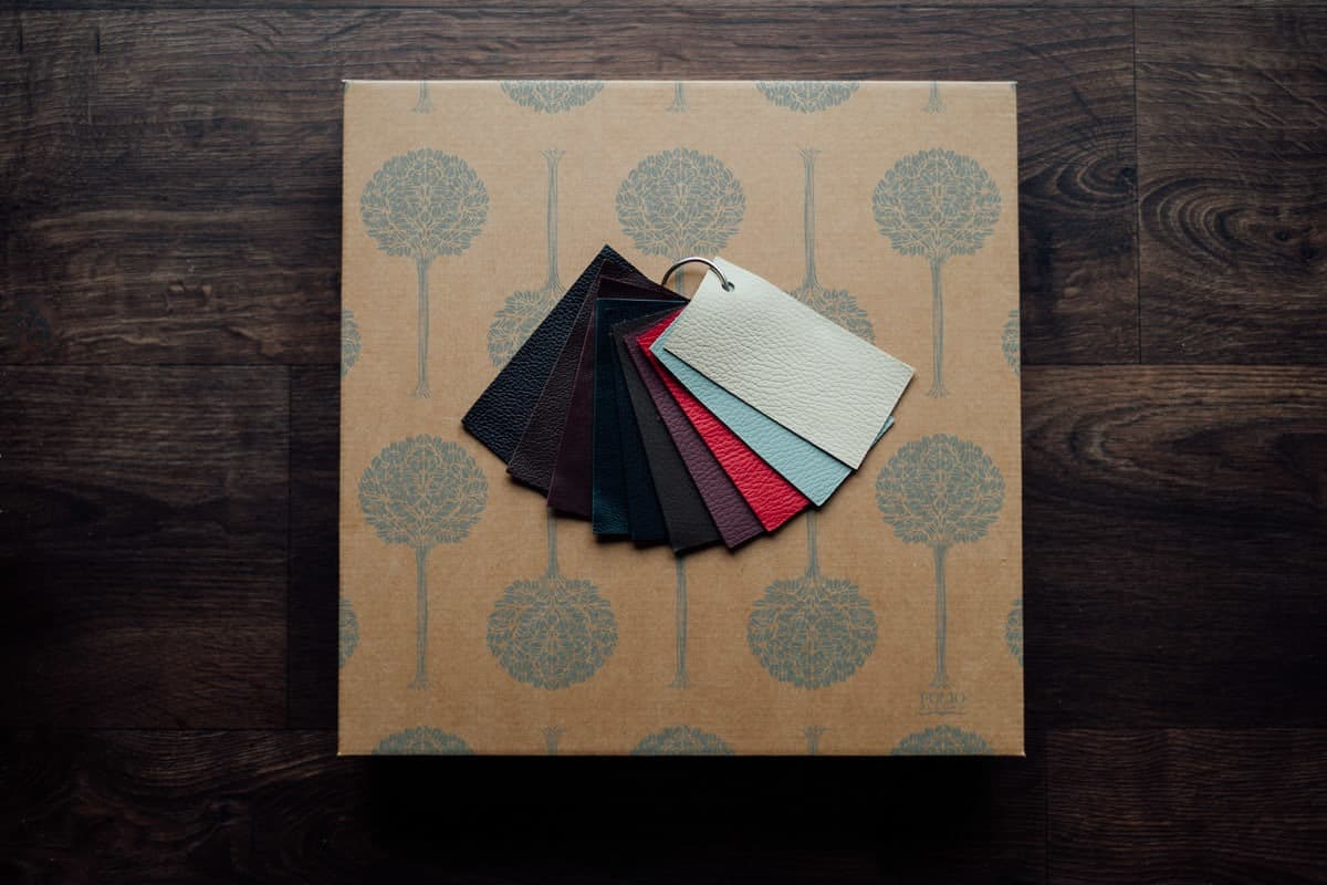 Leather swatches for luxury fine art albums, by Gareth McGaughey Photography