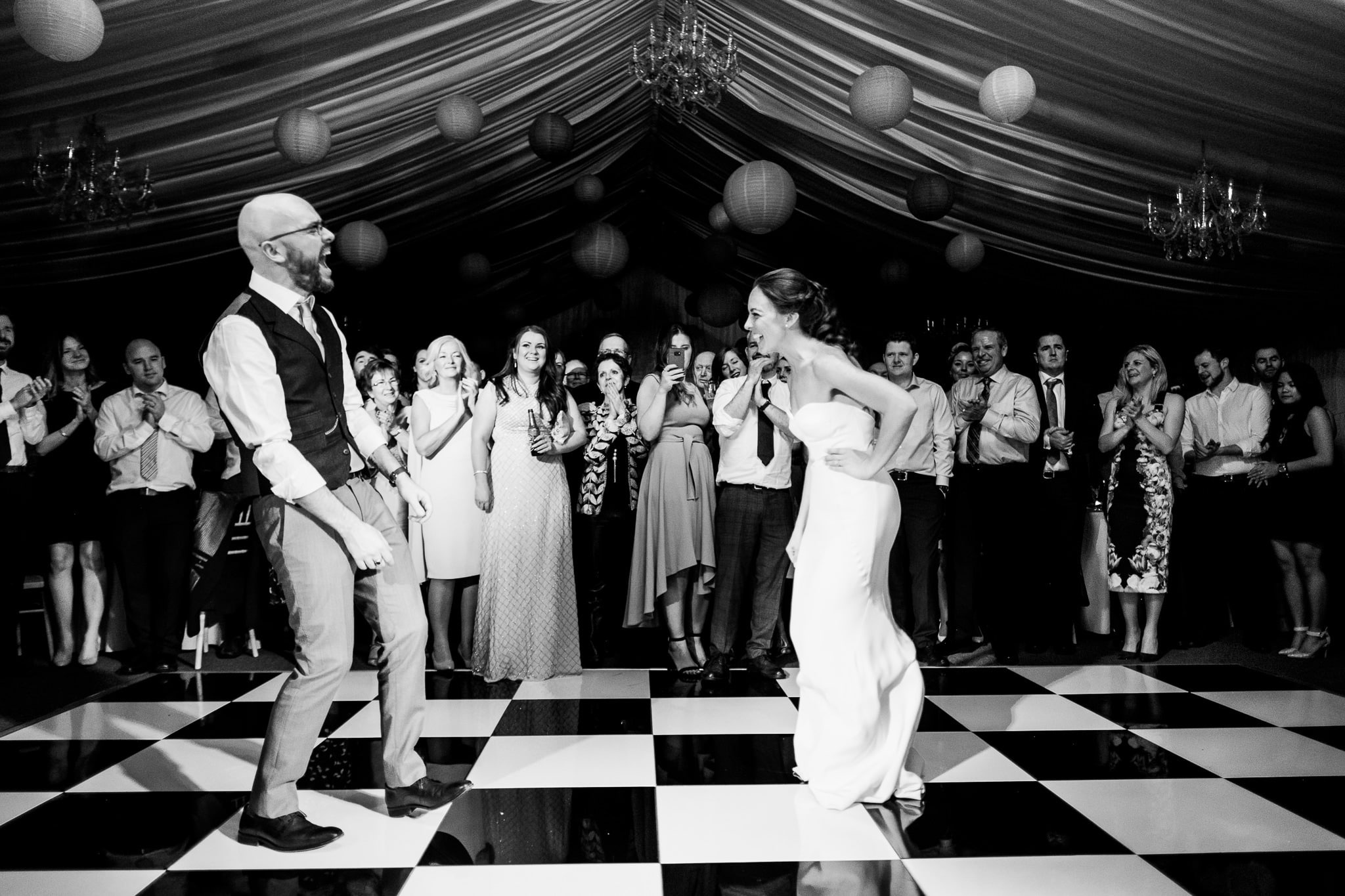 bride and groom's first dance at Clonabreany house