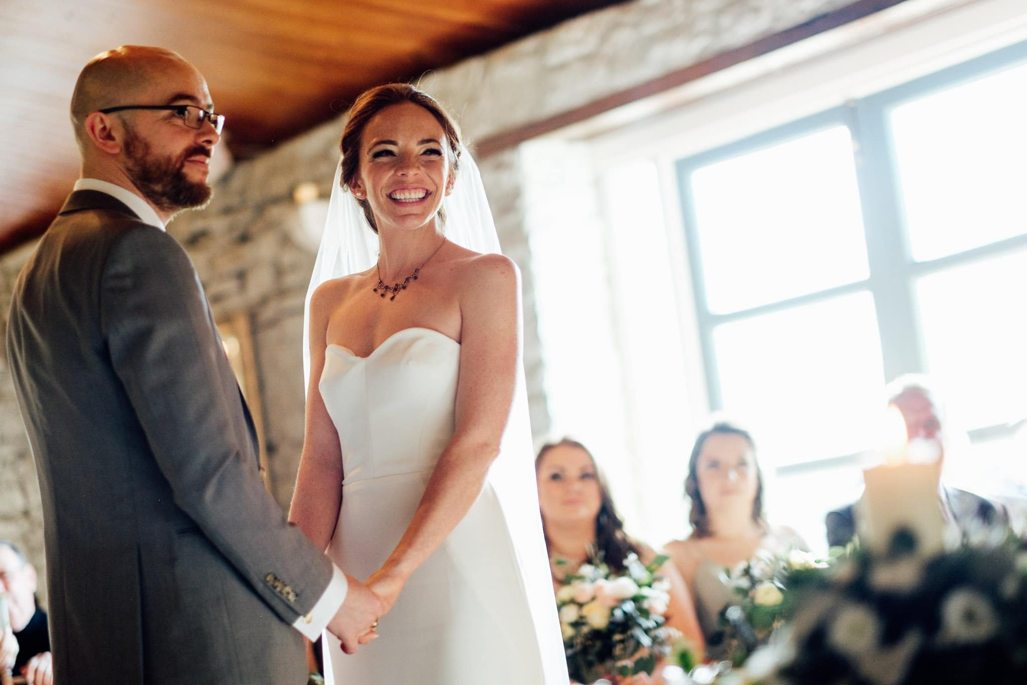 bride and groom exchanging vows at a clonabreany house wedding
