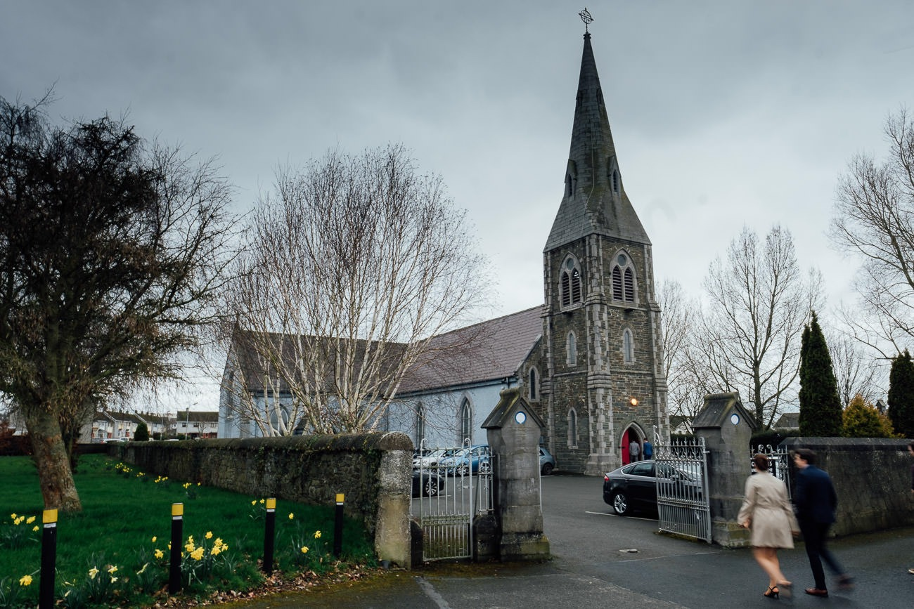 Guests arrive at the church in Dunleer for the wedding ceremony